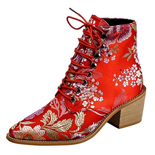 WHSHINE Boots Damen Knie Stiefel Leoparden Muster High Tube Schuhe Große Größe Beiläufig Stiefeletten Elegant Overknee Stiefel Herbst Winter Patchwork Wildleder Stiefel(Rot,41)