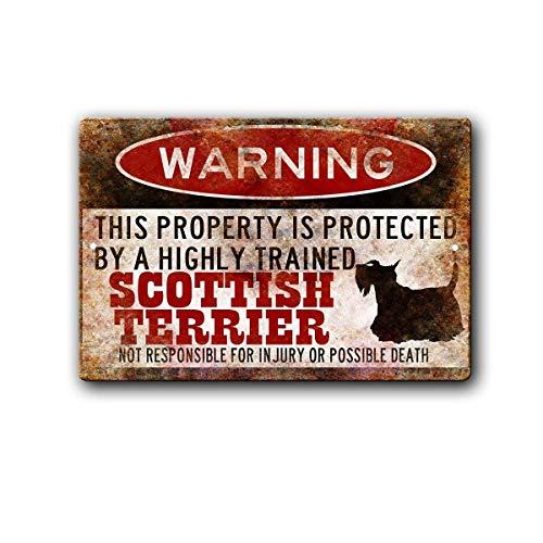 Warning Scottish Terrier Metall Blechschild Retro Metall gemalt Kunst Poster Dekoration Plaque Warnung Bar Cafe Garage Party Game Room Hauptdekoration