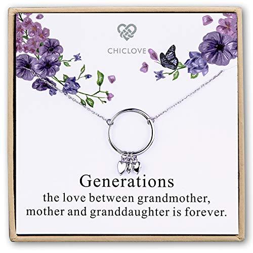 CHICLOVE Collar de la generación - Abuela Madre Hija Collares - Collar Familiar - Regalo de la Abuela - Madre Madre Collar - joyería Hija mamá