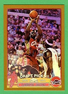 LeBron James 2003-04 Topps Chrome Basketball GOLD BORDER Rookie Reprint Card (Cavaliers) (Heat)