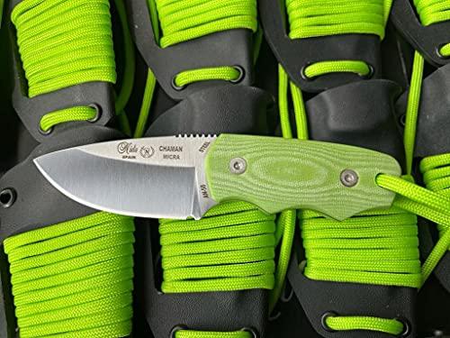 NIETO - 136-VK Cuchillo de cuello Nieto CHAMAN MICRA. Acero AN-58. Mango de Micarta verde. Hoja 6 cm. Funda de kydex. Herramienta para Caza, Pesca, Camping, Outdoor, Supervivencia y Bushcraft