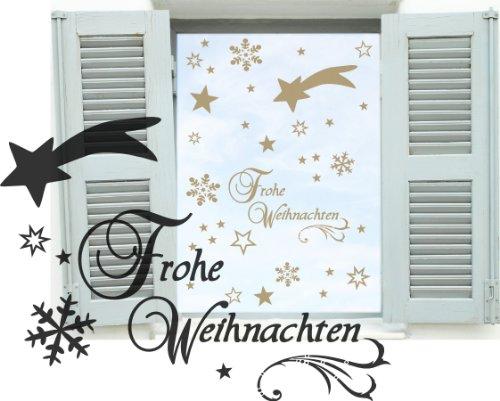 Goldener Dekobogen Weihnachtsfenster 44 Teile Sterne, Sternschnuppe, Schneeflocken, Schriftzug