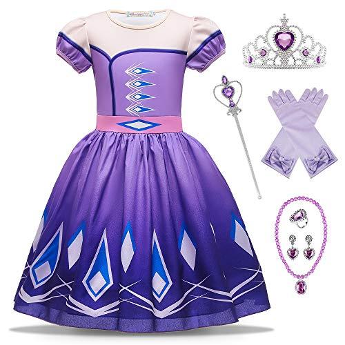 O.AMBW Vestido Corto Azul Disfraz Princesa Elsa Celebración Aniversario Regalo Vestido Violeta Reina Anna de Manga Corta Cosplay Carnaval Disfraz de Halloween con Accesorios para niñas