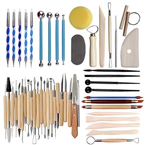 51 Stuks Keramische Klei Tool Sets Voor Beginners Professional Kunst Ambachten Wood Handle Ceramic Boetseren Gereedschap