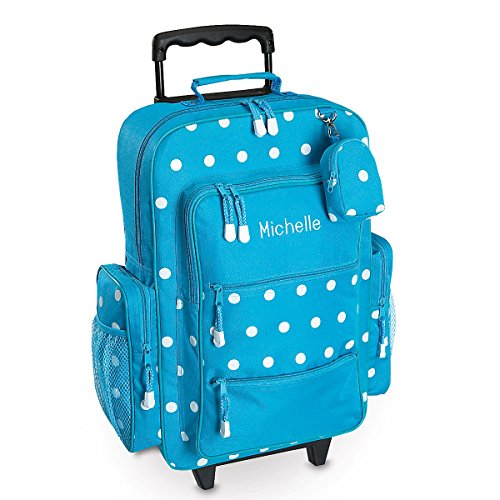 Personalized Rolling Luggage for Kids – Turquoise Polka-Dot Design, 15.5' x 6' x 23'H, By Lillian Vernon