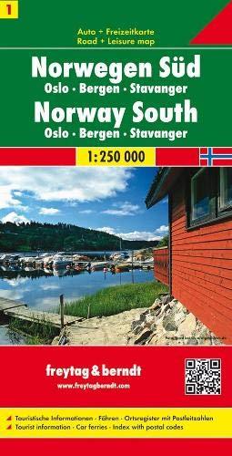 Sur de Noruega, Oslo, Bergen, Stavanger mapa de carreteras. Escala 1:250.000. Freytag & Berndt.: Toeristische wegenkaart 1:250 000 (Auto karte)