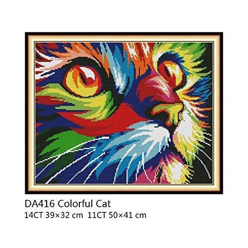 LY88 Kleurrijke Kat Cross Stitch Patronen DMC Floss 14CT 11CT Gedrukt Canvas Wit Doek voor Naaldwerk Borduurwerk Kit DIY