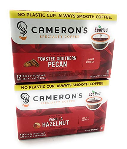 Camerons Variety Pack of Toasted Southern Pecan K Cups 12 count & Camerons Vanilla Hazelnut K Cups 12 Count, 4.33 oz Each