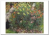 世界の名画 モネ ダリア群生の中の若い女性達 ジークレー技法 高級ポスター (A1/594ミリ×841ミリ)