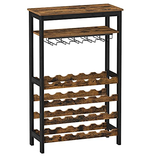 SONGMICS 24-Bottle Wine Rack Free Standing Floor, Display Wine Storage Shelves with Glass Holder Rack, Wobble-Free Bottle Holder for Kitchen Bar Dining Room, Rustic Brown and Black UKWR028B01