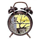 目覚まし時計 - ニューヨークユナイテッド航空のヴィンテージ旅行の大音量目覚まし時計 バックライト 静か 連続秒針 スヌーズ 電池式 置き時計 卓上時計 直径約4インチ(ブラック)