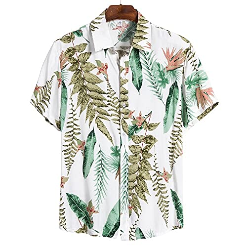 Camiseta Hombre Verano Moda Estampado Hombre Henley Camisa Moderna Cuello V Shirt Botón Placket Playa Shirt Liviana Casual Vacaciones Hombre Hawaii Camisa CS145 XL