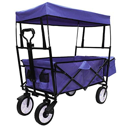 KIDDY-FUX® Bollerwagen faltbar mit Dach / Bremsen / Teleskopgriff | Handwagen Gerätewagen | inkl. Getränketaschen + Außentasche | klappbar | 360° Vollgummi-Reifen | bis 100 kg Tragkraft | Hellblau