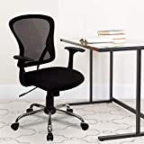 Flash Furniture Mid-Back Black Mesh Swivel Task Office Chair with Chrome Base and Arms