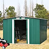 Storage Shed 10x8 FT, Galvanized Steel Outdoor Storage Shed with Air Vent and Slide Door for Garden Patio Lawn, Gable Roof Patio Sheds & Outdoor Storage