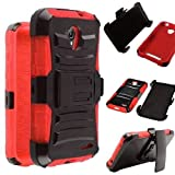for ZTE Stratos LTE Z819C Z819L / ZTE Allstar LTE Z818L Z818G Heavy Duty Impact Protection Combat Armor Kickstand Belt Clip Holster Case [SlickGearsTM] (Red)