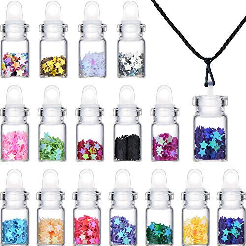 16 Piezas Juego de Collar con Colgantes de Tarro de Cristal Mini Borrar Mini Botellas de Deseo con Estrellas de Lentejuelas y Cuerdas Negras para Suministros Festivos para Fiestas