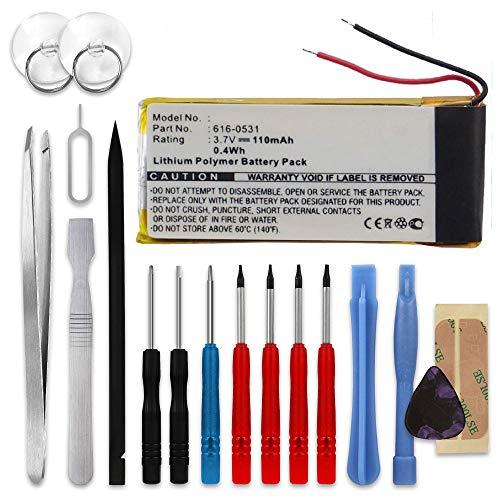 subtel®Batterij compatibel met Apple iPod nano 6 Gen. A1366, 616-0531 110mAh + Schroevendraaier-set Vervangende Accu Battery