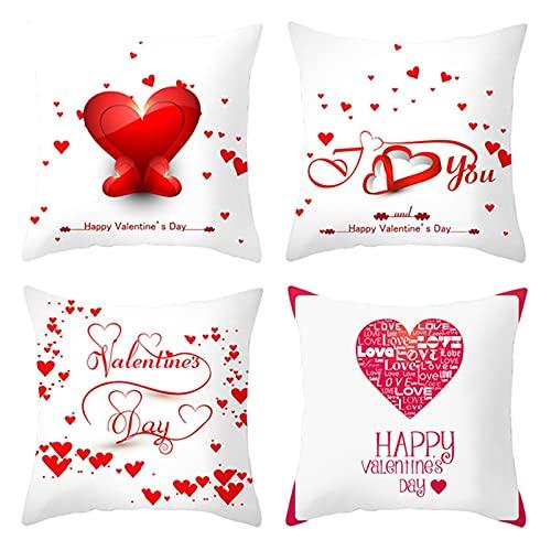 Beydodo Fundas Cojin Salon,4 Piezas Fundas Cojines,Happy Valentine's Day con Corazón,Fundas Cojines Estampadas 45x45 Funda Cojin Rojo Blanco