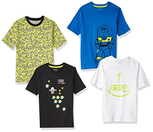 Spotted Zebra Boys' Kids Disney Star Wars Marvel Short-Sleeve T-Shirts, 4-Pack Toy Story Space, Small