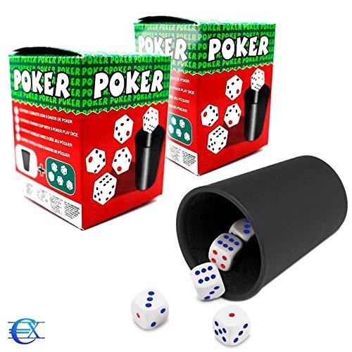 EUROXANTY Cubilete con Dados   10 Dados y 2 Cubiletes   Juegos de Mesa   Juegos en Familia   Niños   Adultos   Dados de Puntos   Poker   Parchís