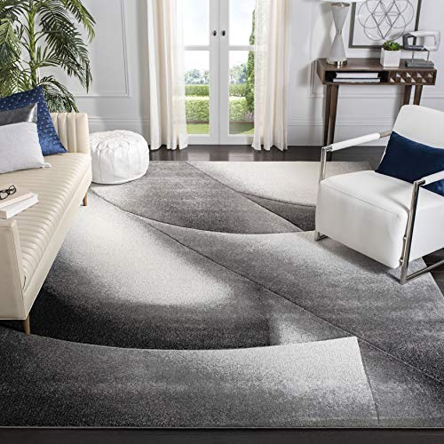Safavieh Hollywood Collection HLW716G Mid-Century Modern Non-Shedding Stain Resistant Living Room Bedroom Area Rug, 8' x 10', Grey / Dark Grey