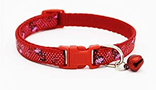 MUNCHOS Adjustable Puppy and Cat Collars (Single Piece) Buckle Safety Neck Collar Strap with Bell Small Size (Colour May Vary)