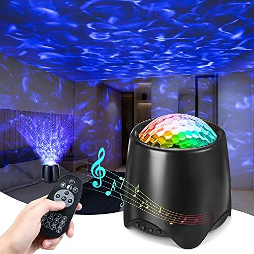 Elfeland LED Sternenhimmel Projektor, Bluetooth Sternenlicht Projektor Galaxy Light Ozeanwellen Sternenprojektor Lampe mit Fernbedienung Timer Lautsprecher Nachtlicht für Kinder Erwachsene Geschenke