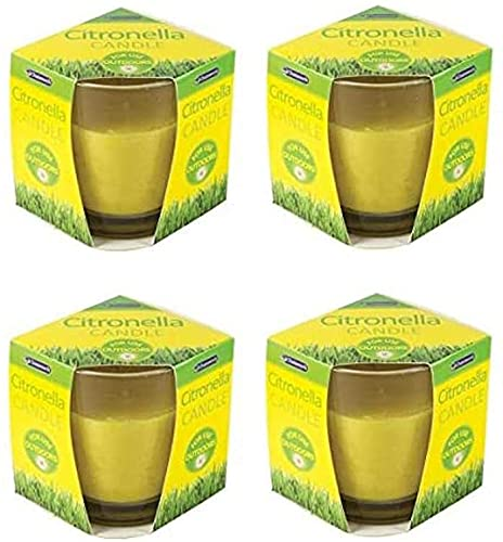 OnlineStreet Insect Repellent Citronella Tealight Glass Candles (4/Pack) with 8 Hours Burning Time - Long Lasting Mosquito Repellent for Outdoor/Indoor Use