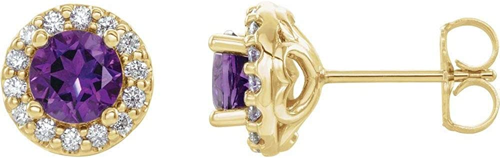 Solid 14k Yellow Gold Amethyst and 1/4 Cttw Diamond Stud Earrings (9mm x 8.1mm)