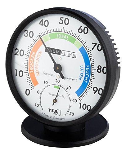 Präzisions-Hygrometer Haar-Hygrometer Klimatest schwarz mit Standfuß
