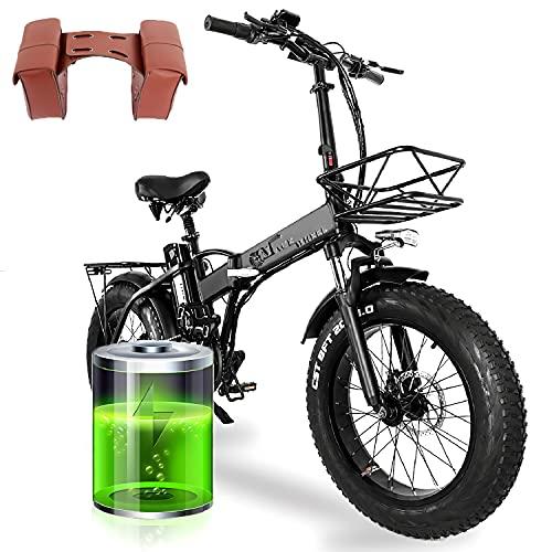 E Bike 20 Zoll, Upgrade GW20 Faltrad Ebike, Elektrofahrrad mit 15AH Lithium-Akku Und 750W Motor, 7-Gang Fettreifen Elektrofahrrad Mountainbike, 48V Batterie mit Großer Kapazität(Poland Warehouse)