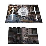 FloraGrantnan - Manteles de mesa con aislamiento antideslizante, lavable, barrio gótico y puente de los suspiros en Barcelona, Cataluña, España, fácil de limpiar, juego de 4