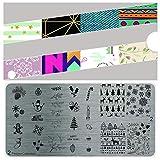 MoYou's XL Festive Stamping Nail Art Platos de imagen de diseño colección 2, Navidad, copos de nieve, árbol, querido, campana, diseños de regalo