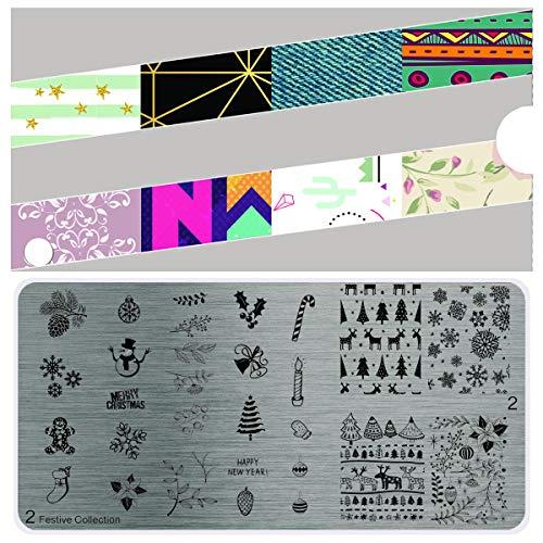 MoYou's XL Festive Stamping nail art design piastre collezione 2, Natale, fiocchi di neve, albero, caro, campana, disegni regalo