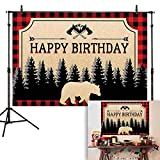 Allenjoy 7x5ft Lumberjack Birthday Backdrop Red and Black Buffalo Plaid Bear Forest Photography Background Christmas Baby Boy Party Supplies Home Decoration Cake Table Banner Photo Booth Props