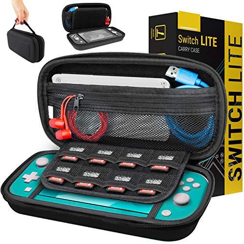 Funda para Nintendo Switch Lite – Estuche Protector rigida, para Llevar Nueva Switch Lite Consola (2019) y Sus Juegos y Accesorios - Negro