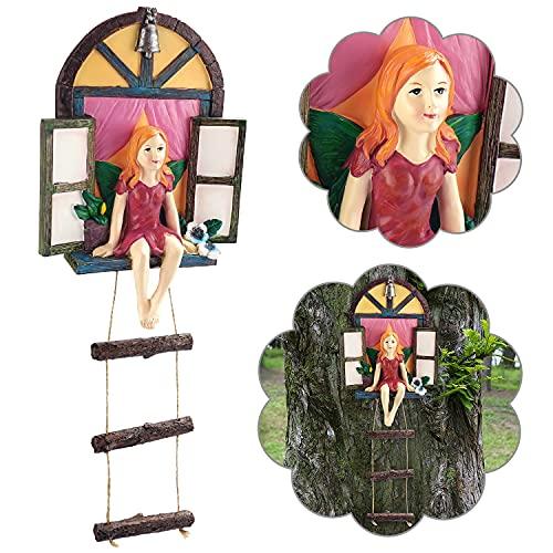 ZealBoom Garden Fairy Statue Elf Out The Door Tree Hugger, Garden Gnome Peeker Yard Art Tree Sculpture Garden Decoration