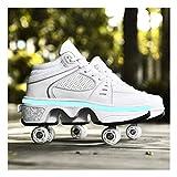 HANHJ Zapatos con Rodillos 2 En 1 Zapatos Multifuncionales 4 Ruedas Skates Roller Patines Deformación Shoe 7 Colores Luz Barra USB Recargable Mujeres Hombres Niños Zapato,White01-40