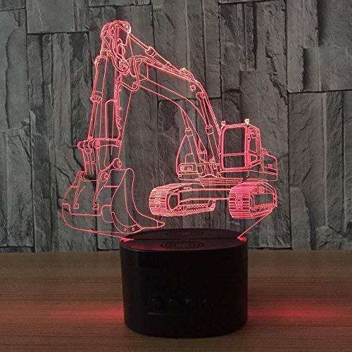 Luz nocturna 3D con control remoto Excavadora 3D Luz nocturna Ilusión Lámpara de mesa táctil LED 7 colores USB Forma de coche Luz de noche junto a la cama Chico