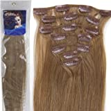 20''7pcs Fashional Clips in Remy Human Hair Extensions 24 Colors for Women Beauty Hot Sale (#12-light brown) by lilu