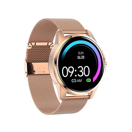 Aliwisdom Smartwatch für Herren Damen Kinder, 1,3 Zoll Rund Smartwatch Fitness Uhr Wasserdicht Sport Armbanduhr Fitness Tracker Metallarmband für iOS Android, Mit Whatsapp SMS-Lesefunktion (Roségold)
