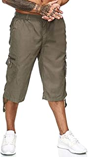 Men's Baggy Cargo Cropped Pants with Multi Pockets Elastic Waist Plain Lounge Work Straight Trousers Casual Bottom