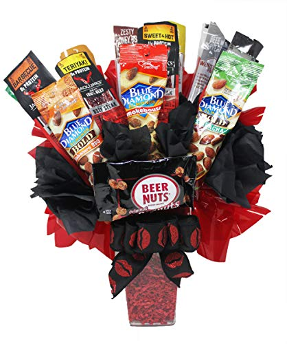 Ultimate Beef Jerky Bouquet with Bold Almonds and Beer Nuts | Personalized, Creative and Unique | Great Gift Idea for Boyfriend, Husband or Significant Other