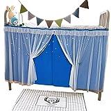 dormitorio per studenti tende per letto a castello zanzariera letto per dormitorio per ragazze ombra antipolvere tessuto oscurante tenda a baldacchino tenda blu, copertura superiore antipolvere