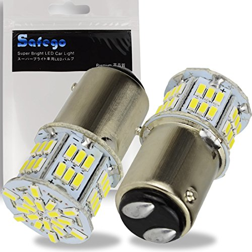 Safego 2x Lampadine LED 1157 BAY15D per Auto Moto Fanalini Direzionali Luce di Parcheggio 2057 2357 6000K 54SMD 3014 Bianco 12V