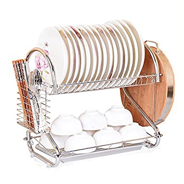 S Shape Dish Rack and Dryer Drainboard Set Stainless Steel Dish Drying Rack