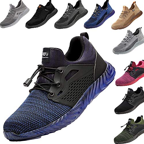 Zapatos de Seguridad para Hombre Transpirable Ligeras con Puntera de Acero Zapatillas de Seguridad Trabajo, Calzado de Industrial y Deportiva 44
