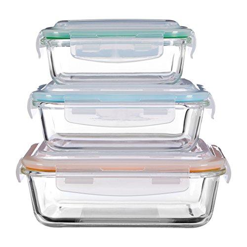 Premier Housewares Freska Glass Containers, Set of 3, Rectangular