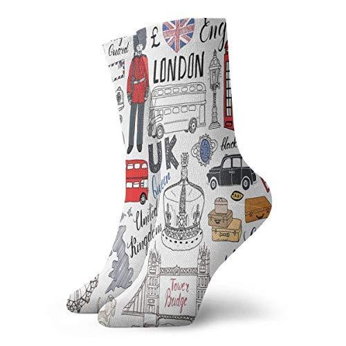 Calcetines Transpirable Amor Londres Autobús Telefónico Cabina Crew Sock Exótico Moderno Mujeres y Hombres Impreso Deporte Atlético Calcetines 30 cm Calcetines